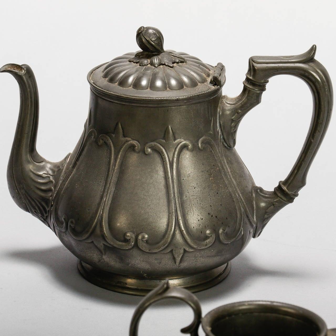 English Pewter Four-Piece Coffee Tea Service 5