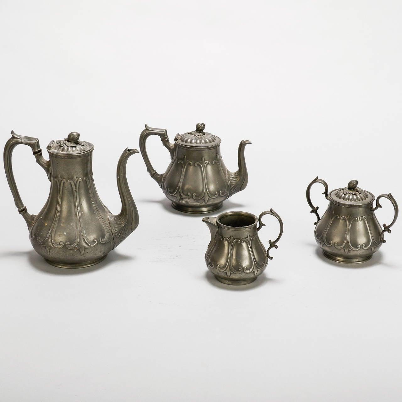English Pewter Four-Piece Coffee Tea Service 4