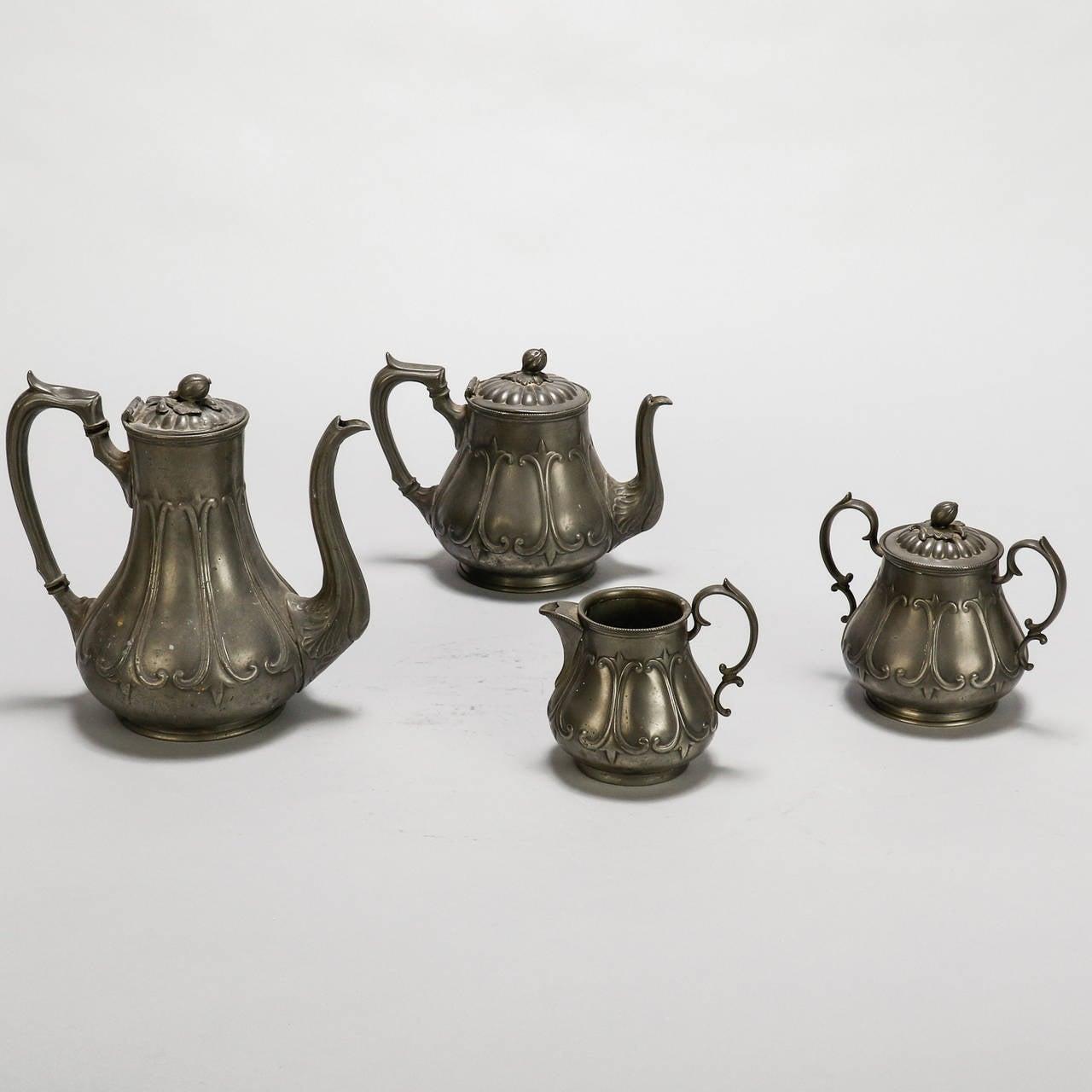English Pewter Four-Piece Coffee Tea Service 6