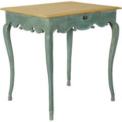 Teal Blue French Side Table with Fluted Edge