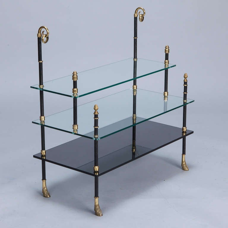 Small Neo Classical Side Table with Black Enamel and Brass Frame 2