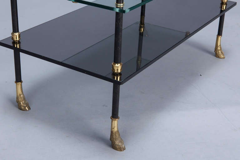 Small Neo Classical Side Table with Black Enamel and Brass Frame 7