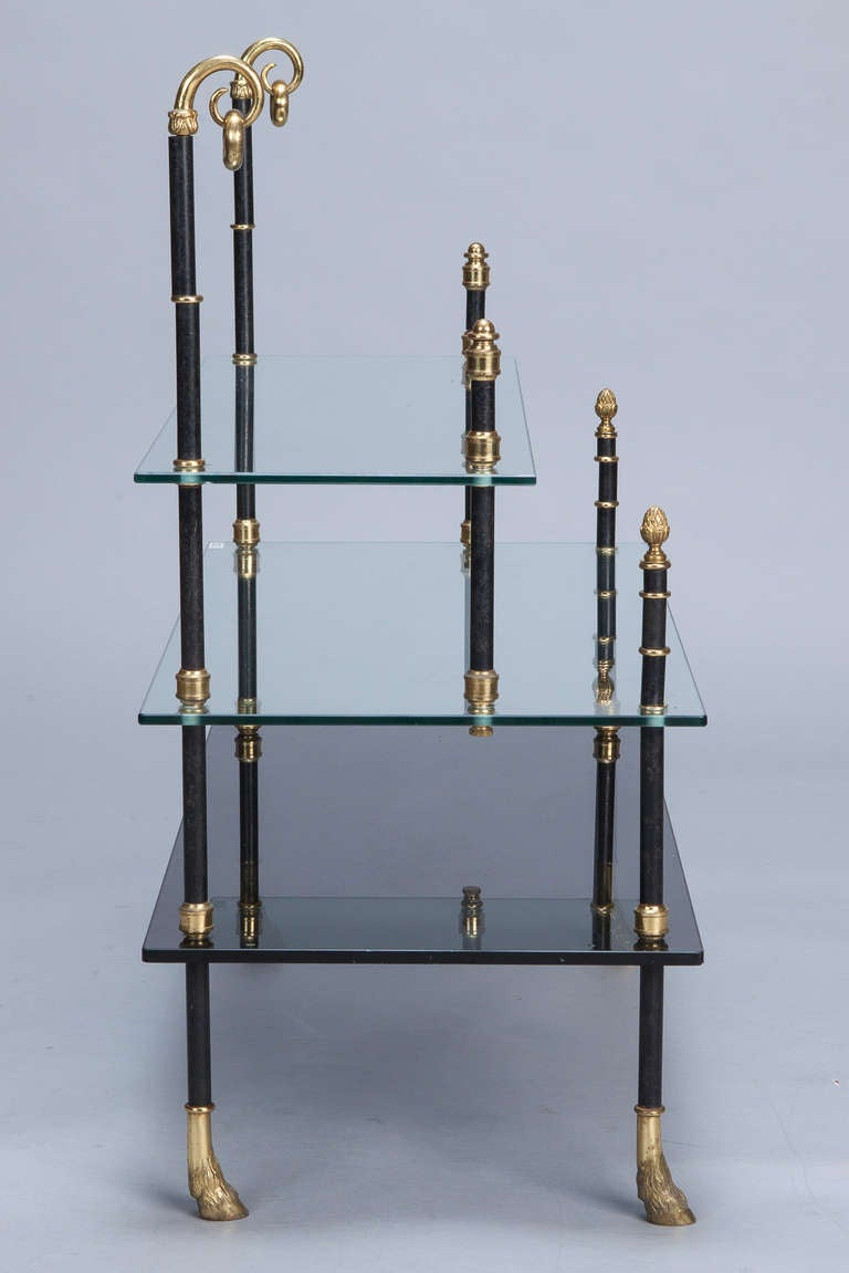 Small Neo Classical Side Table with Black Enamel and Brass Frame 5