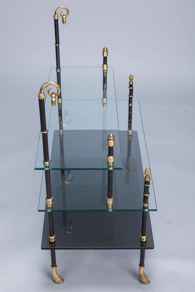 Small Neo Classical Side Table with Black Enamel and Brass Frame 6