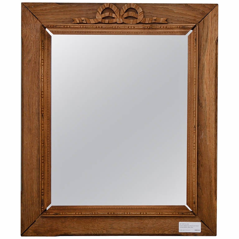 French Bleached and Hand-Carved Mirror with Bow
