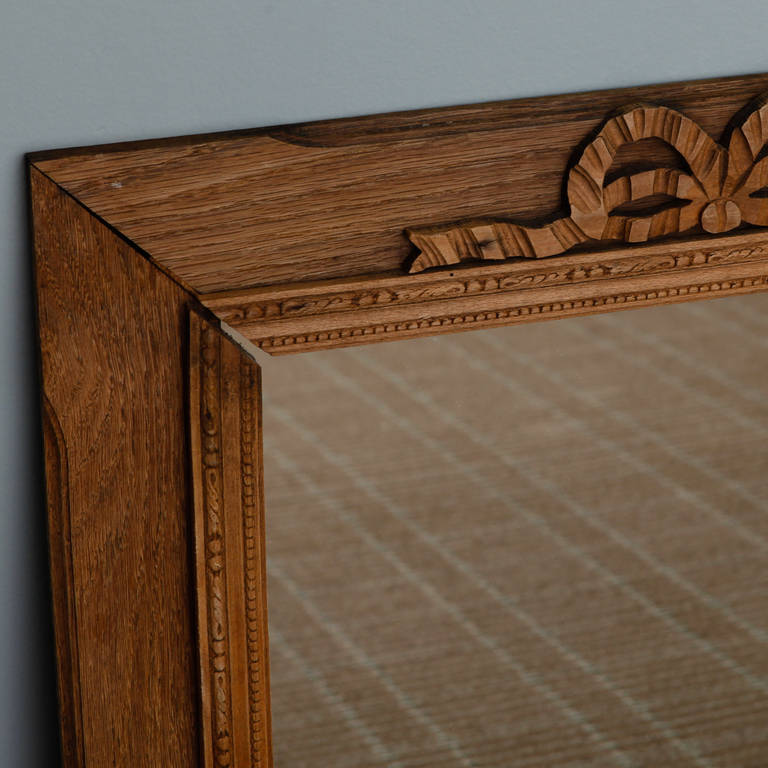 Wood French Bleached and Hand-Carved Mirror with Bow
