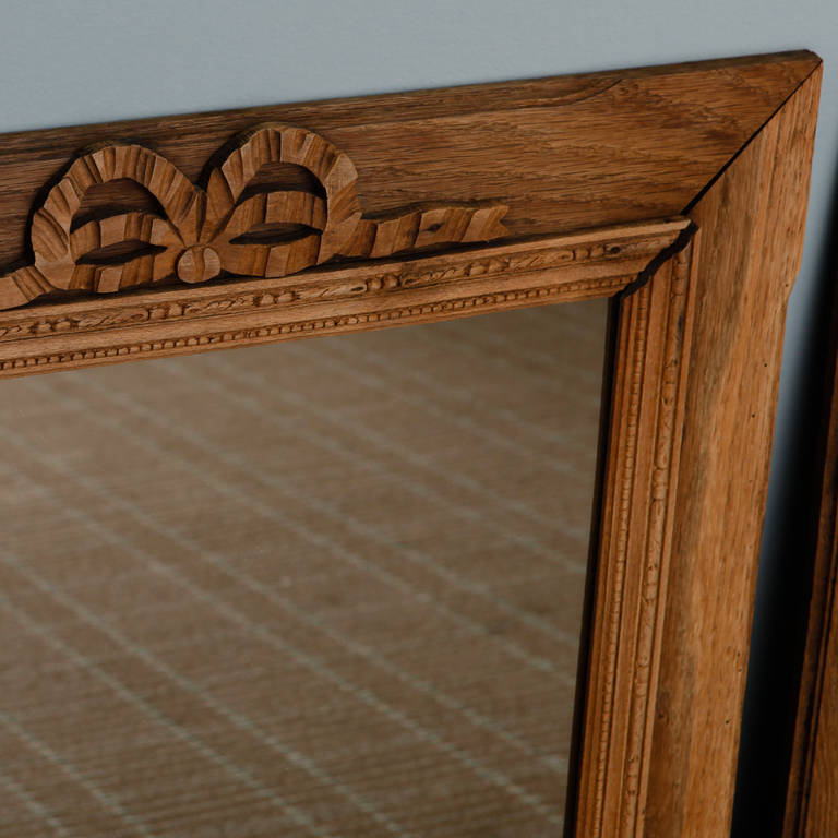 French Bleached and Hand-Carved Mirror with Bow 1