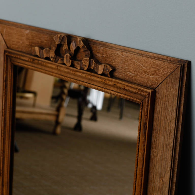 French Bleached and Hand-Carved Mirror with Bow 2