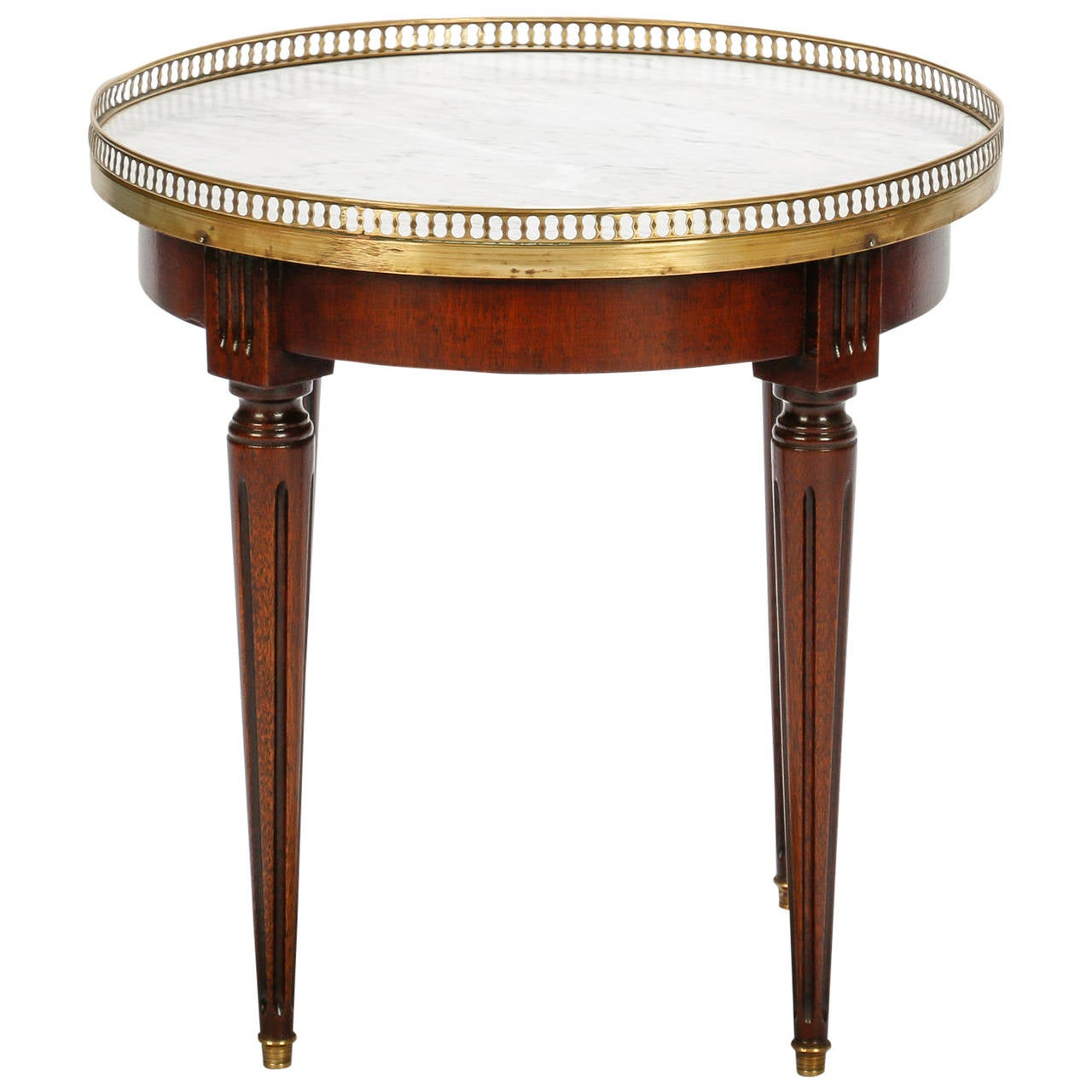 Small round wood side table with brass gallery and white