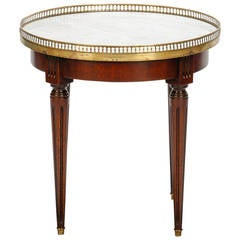 Small Round Wood Side Table with Brass Gallery and White Marble Top