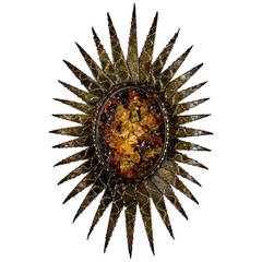 Brutalist Style Sconce in Sun Flower Design with Resin Center