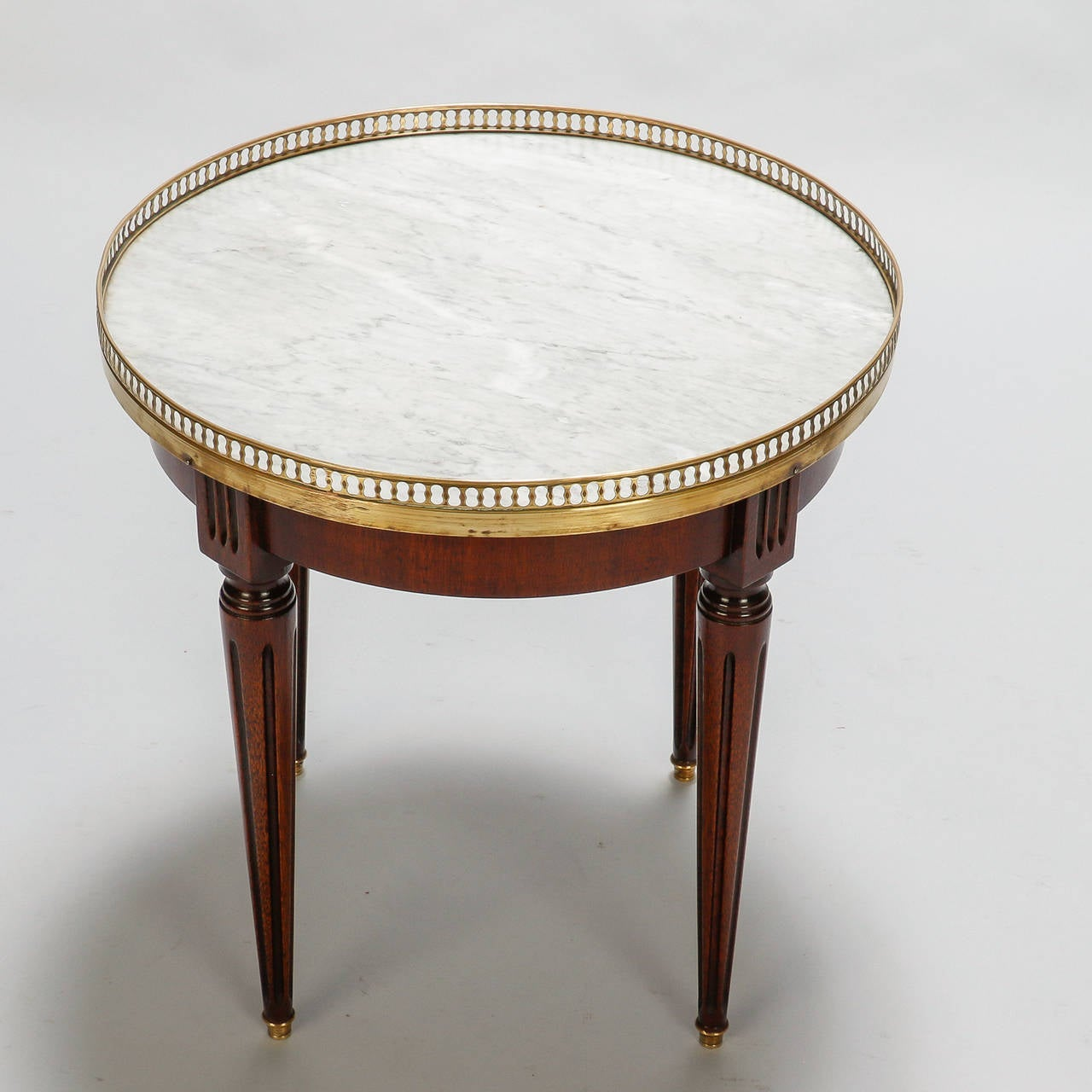 Small Round Wood Side Table With Brass Gallery And White Marble Top - Marble and wood side table