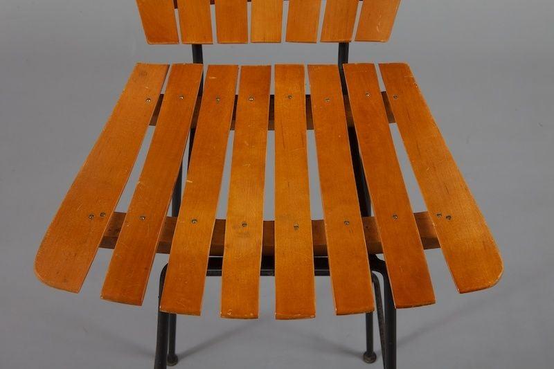 Set Of Four Mid Century Arthur Umanoff Slat Wood And Iron