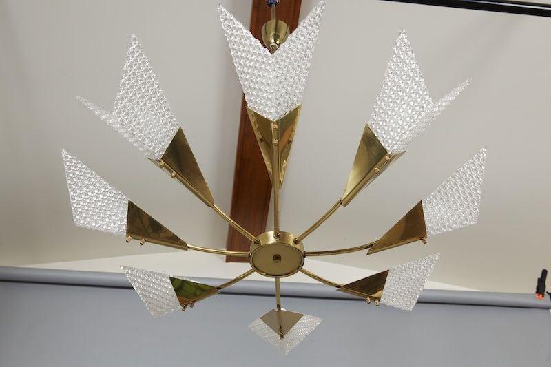 German Mid Century Eight Light Atomic Sputnik Style Chandelier For Sale