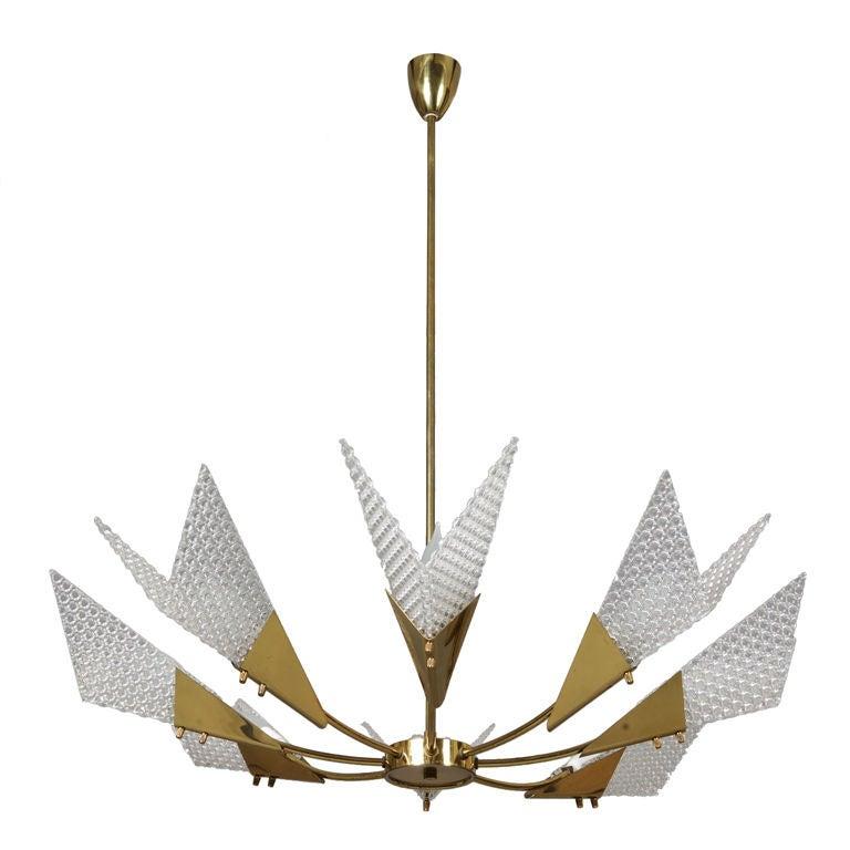 Mid Century Eight Light Atomic Sputnik Style Chandelier For Sale