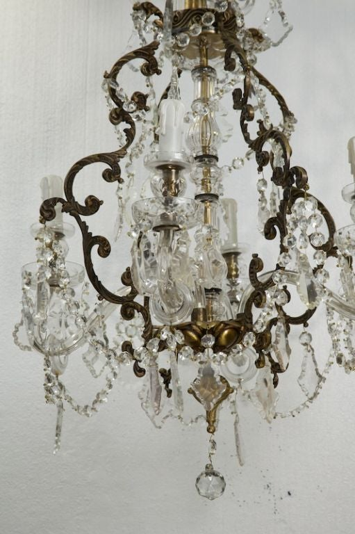 French Four-Light Crystal Chandelier with Glass Arms In Excellent Condition For Sale In Troy, MI