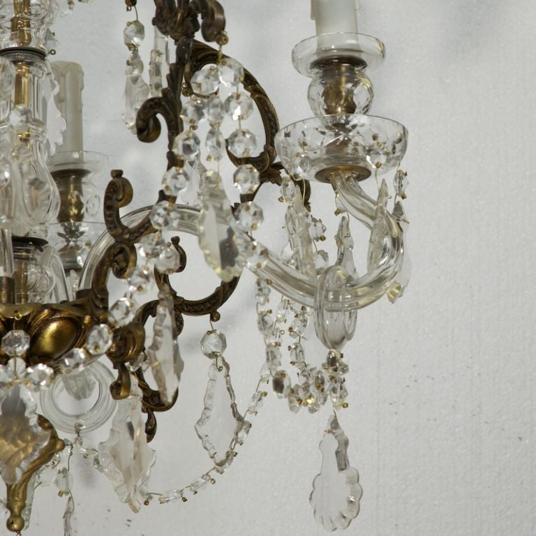 19th Century French Four-Light Crystal Chandelier with Glass Arms For Sale
