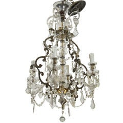 French Four-Light Crystal Chandelier with Glass Arms