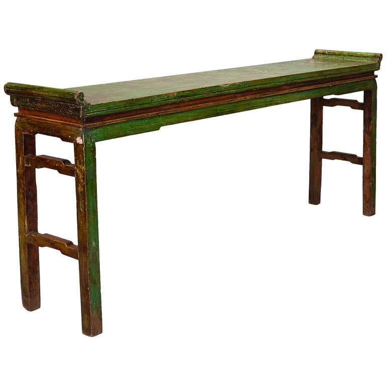 Chinese green lacquered wood server at 1stdibs for Lacquered furniture