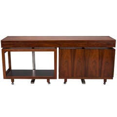 Danish Mid Century Rosewood Console with Coordinating Trolley and Bar Cabinet