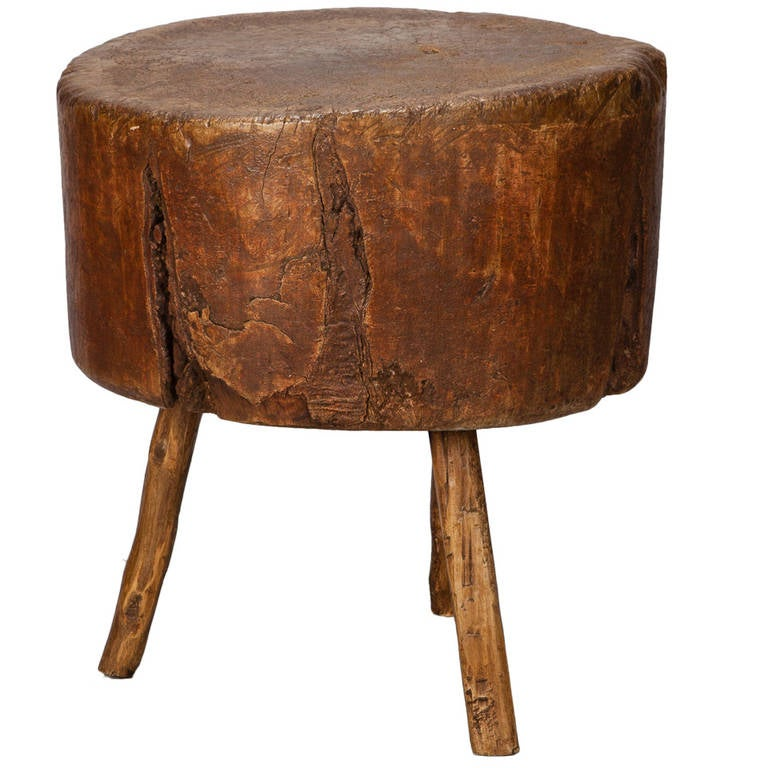 19th century primitive round butcher block table at 1stdibs