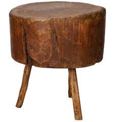 19th century primitive round butcher block table. Black Bedroom Furniture Sets. Home Design Ideas