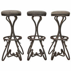 Set of Three Bar Height Stools with Fer Forge Base