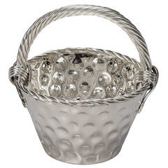 Mid-Century Hammered Nickel Plated Tall Handled Basket