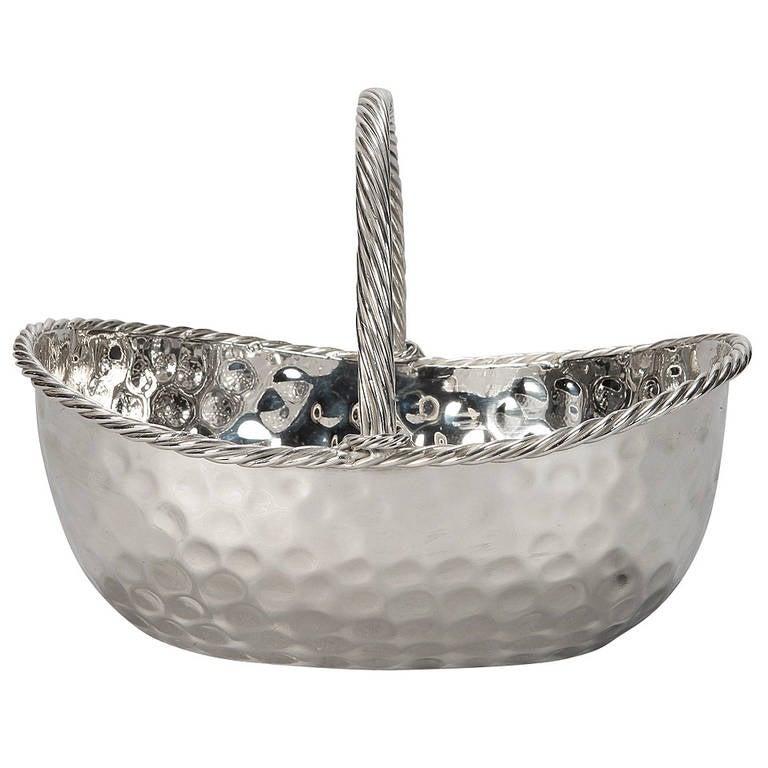 Mid-Century Nickel Plated Hammered Basket