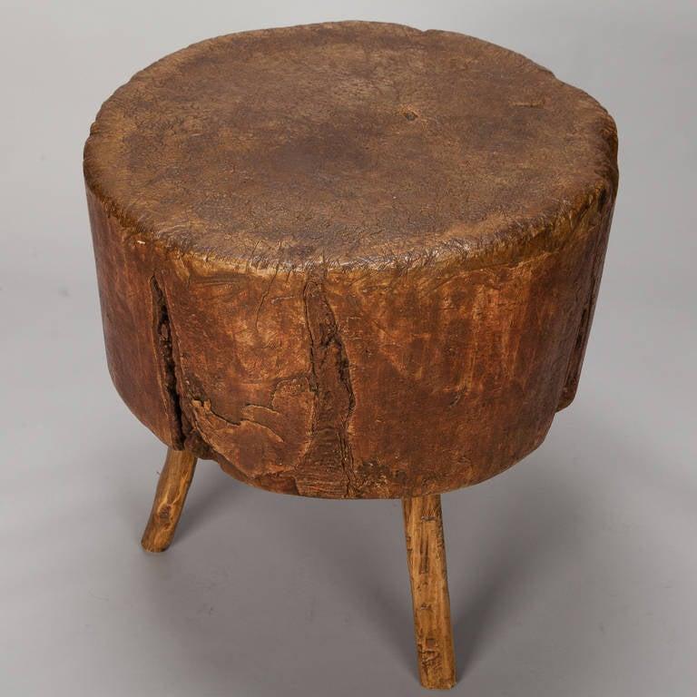 19th century primitive round butcher block table for sale at 1stdibs. Black Bedroom Furniture Sets. Home Design Ideas