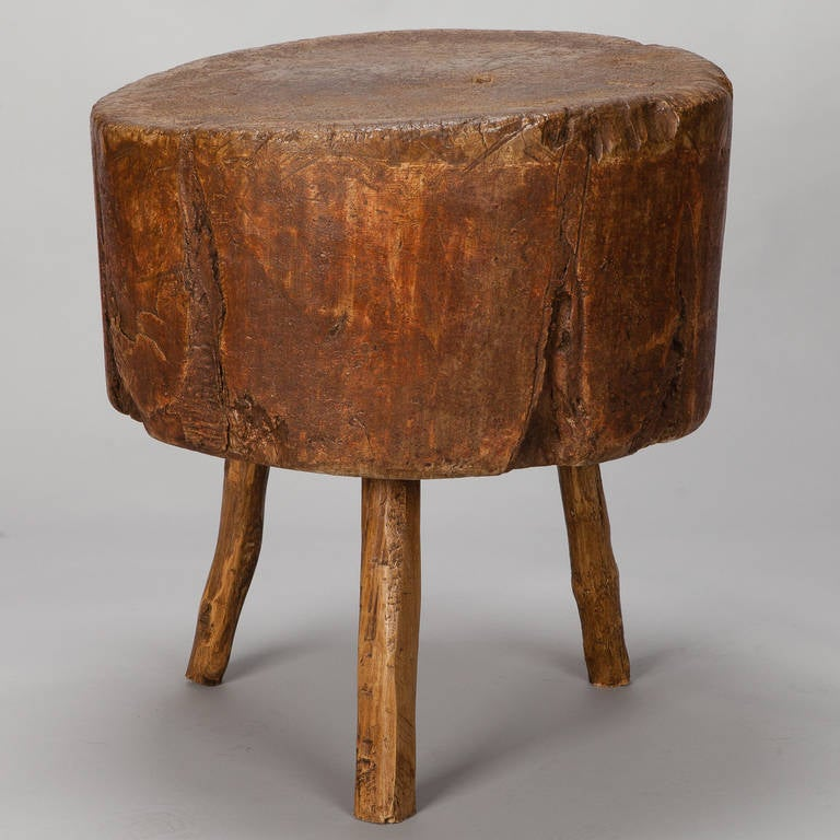19th century primitive round butcher block table for sale