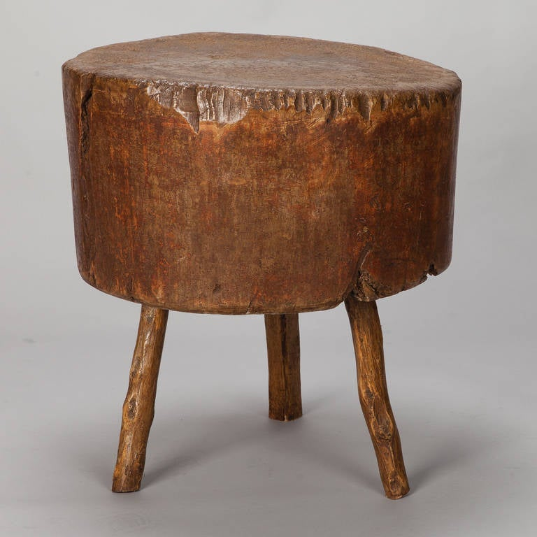 Th century primitive round butcher block table at stdibs