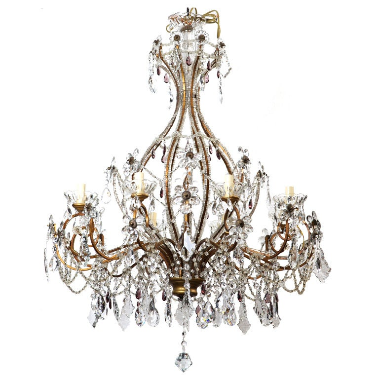 Italian Crystal Chandelier With Heavy Beading And Crystal