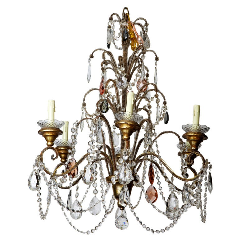 Italian Six-Light Crystal Chandelier with Giltwood Bobeches For Sale