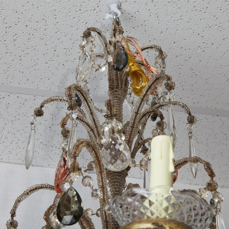 Brass Italian Six-Light Crystal Chandelier with Giltwood Bobeches For Sale