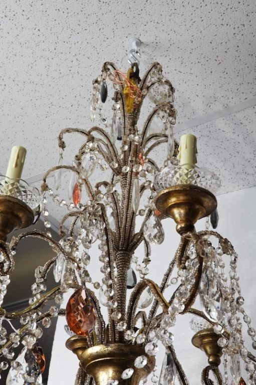 Italian Six-Light Crystal Chandelier with Giltwood Bobeches For Sale 3