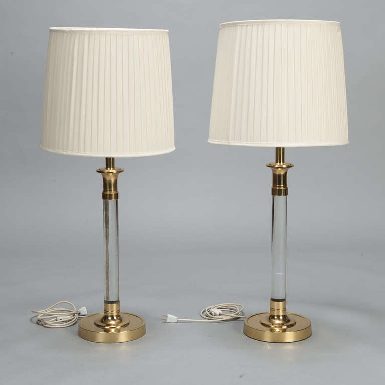 Pair tall mid century lucite and brass table lamps at 1stdibs circa 1960s tall lucite and brass table lamps have brass pedestal bases substantial supports keyboard keysfo Images