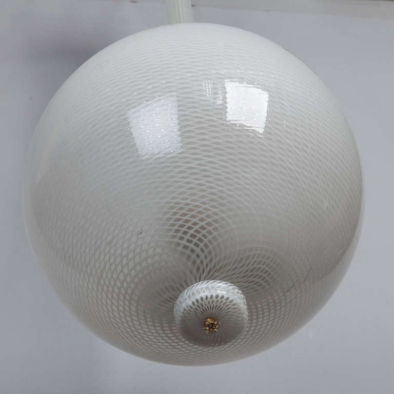 Mid Century White Murano Glass Hanging Light Fixture For