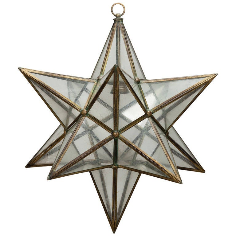 large italian brass and glass star shaped lantern fixture