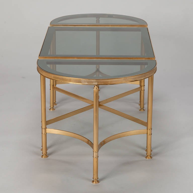 Trio Of Brass And Smoked Glass Tables At 1stdibs