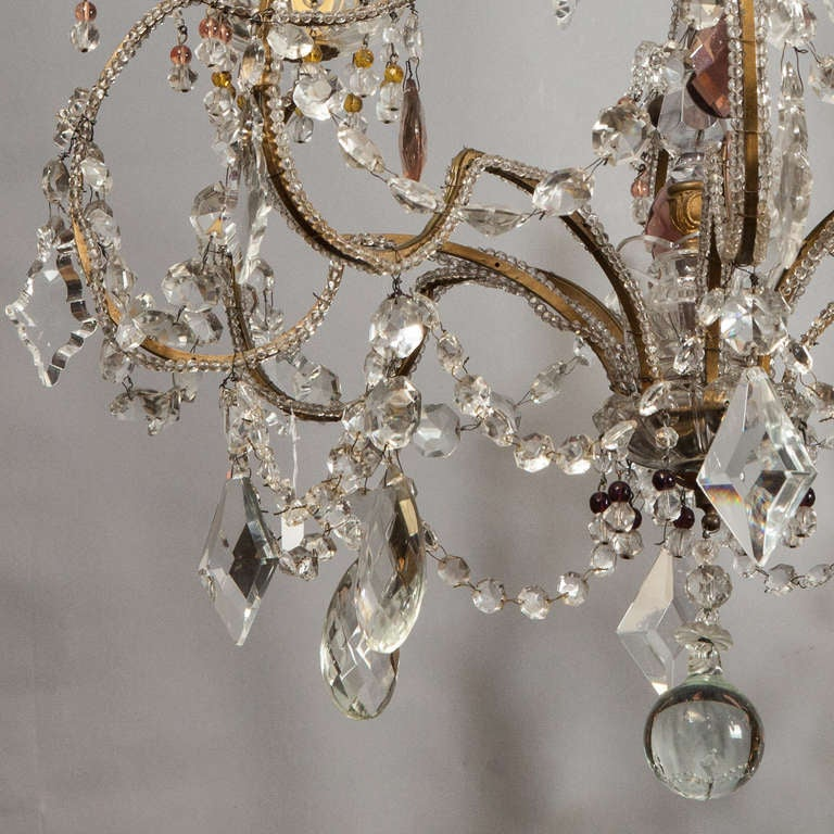 20th Century French Four Light Crystal Chandelier