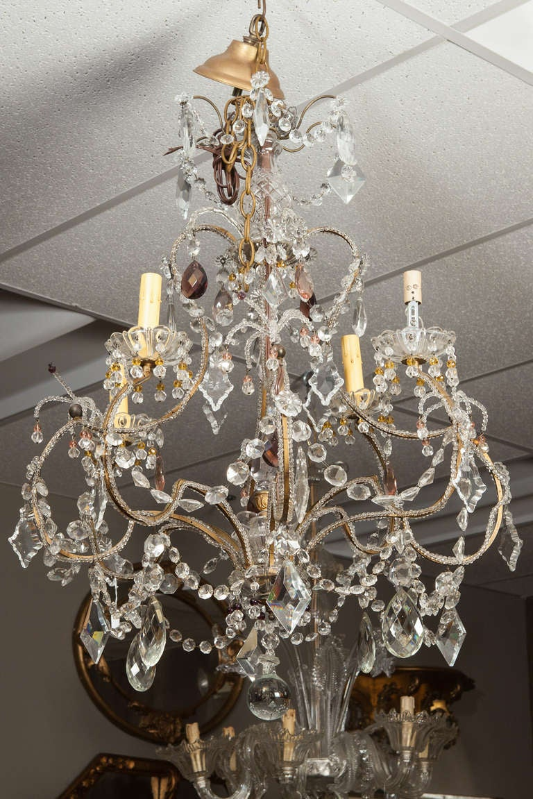 Brass French Four Light Crystal Chandelier