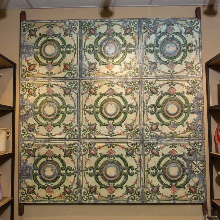 Large 19th Century Mounted Hand Painted Tin Ceiling Panel