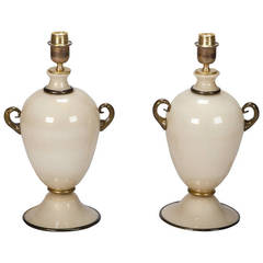 Pair of Midcentury Murano Amphora Shape Glass Lamps in Cream and Black
