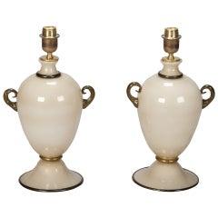 Pair of Midcentury Murano Amphora Shape Glass Lamps in Cream and Black