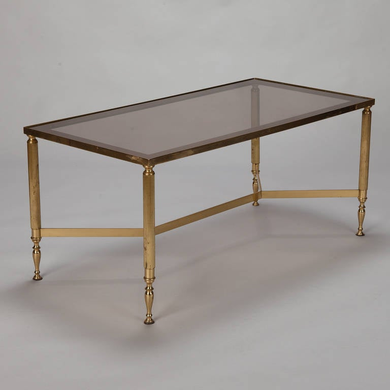 French Brass And Smoked Glass Cocktail Table At 1stdibs