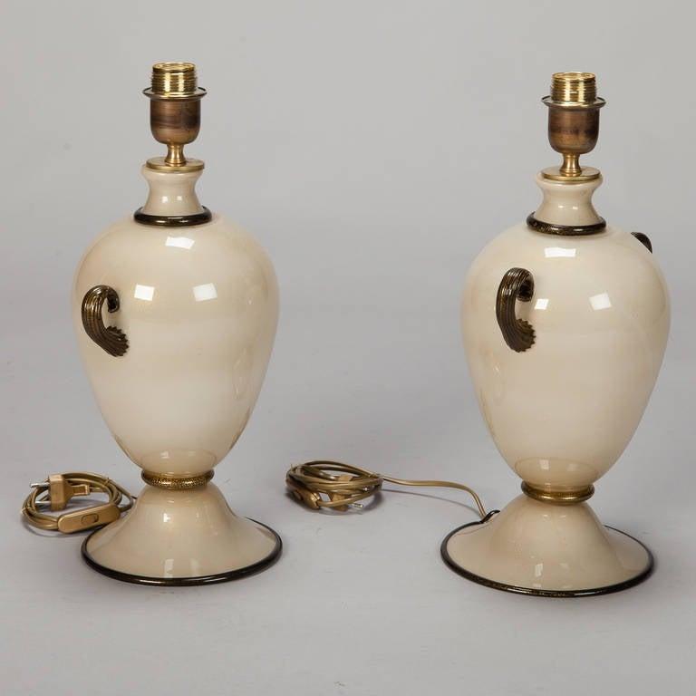 Pair Of Midcentury Murano Amphora Shape Glass Lamps In