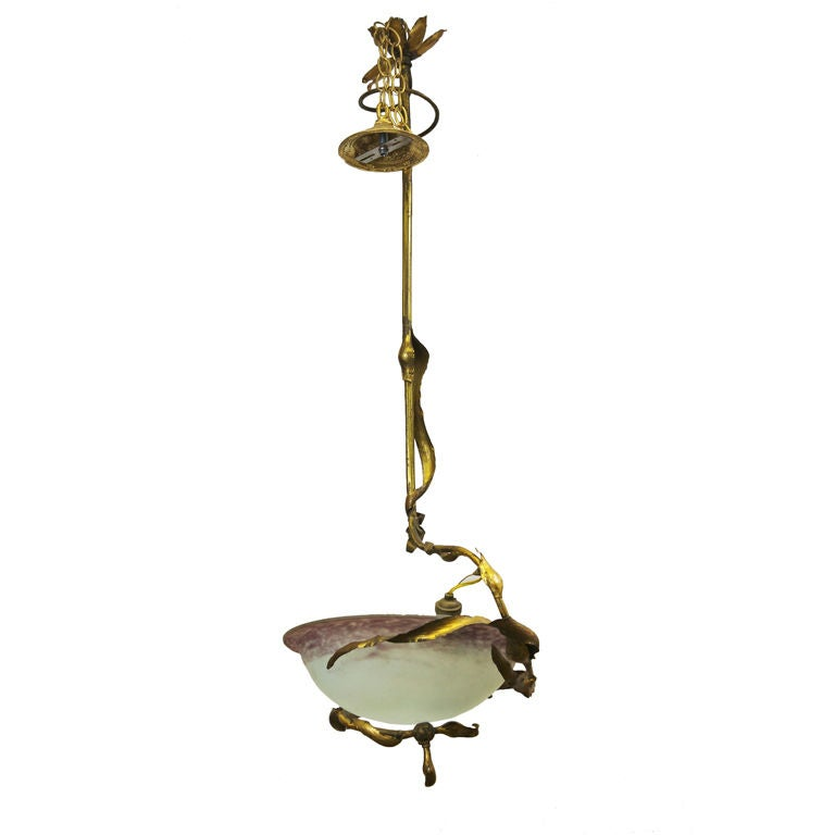 French art nouveau style colored glass hanging fixture for for Art nouveau lighting fixtures