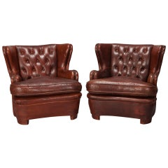 Pair Art Deco Tufted Wingback Leather Club Chairs
