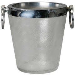 Art Deco Heavy Crystal Ice Bucket with Overall Design